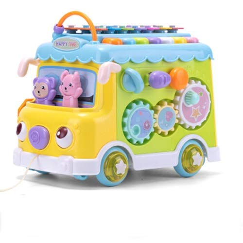 Lihgfw Musical Hand auf Klavier klopfen Push-Pull Auto Bus Spielzeug Jungen und Mädchen Baby Early Education Educational Musical Spielzeug Multifunktionsbus (Color : Yellow)