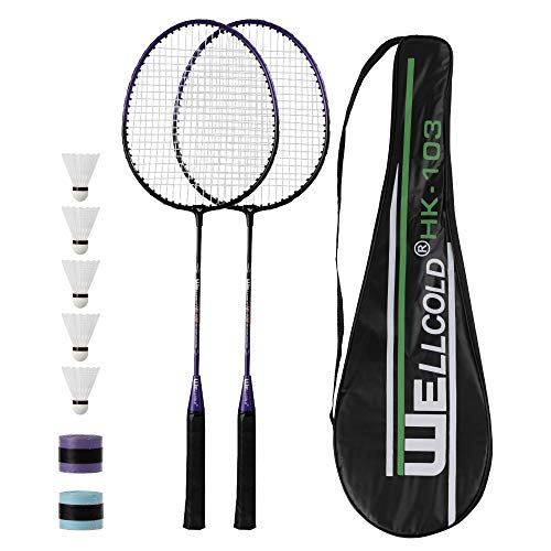 TENNHOOOLL Ultra-Light Alloy Badminton Racquet Set of 2, 2 Rackets, 5 Shuttlecocks and 2 Tennis Grip Tapes and 1 Racket Bag for Beginners and Professional Sports