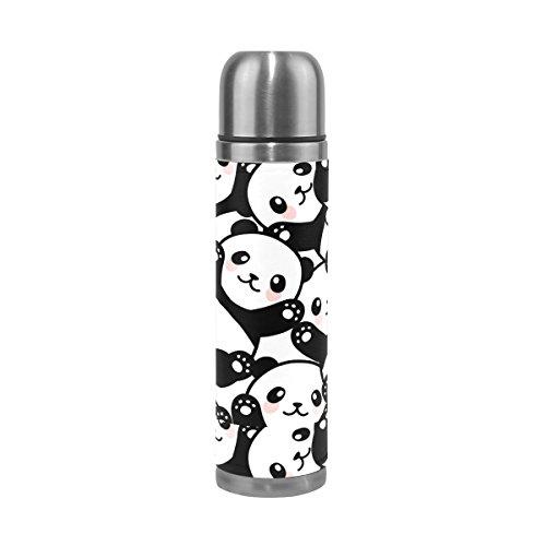 ALAZA Lindo frasco térmico de aço inoxidável para garrafa de água isolado a vácuo com garrafa de parede dupla de couro legítimo 473 ml