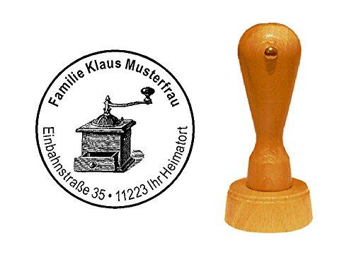 Stempel « koffiemolen » met persoonlijk adres en motief - adresstempel motiefstempel bedrijfsstempel - koffie barista