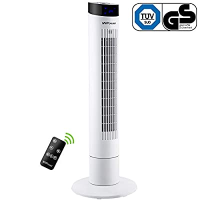 MVPower Oscillating Tower Fan with Remote Control, Floor Fan with 102CM Height, 60W, Column Fan with Ion Function, Tower Fan with 3 Speed Levels, Quiet, 60 ° Oscillating, 1-8h Timer