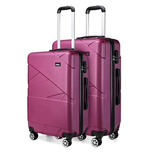 Kono 2 Piece Travel Hard Shell Suitcase Set 24''+28'' Large Capacity Hold Check in Luggage with 4 Spinner Wheel (Purple)