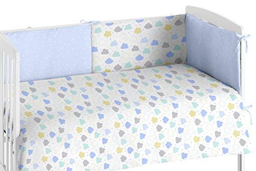 Burrito Blanco Edredón Cuna y Protector para Bebés 008 con Un diseño de Nubes para Cuna 60x120cm/Edredón Cuna + Chichonera para Proteger de los Posibles Roces y Golpes, Colores Azul y Amarillo