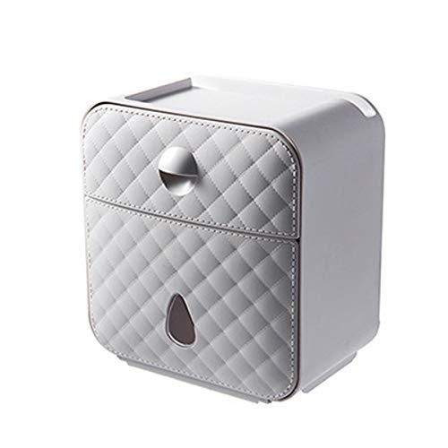 Ponacat wand-gemonteerde Tissue Dispenser, toiletpapier houder plank opbergdoos met lade Grijs