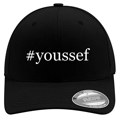 #Youssef - Men's Hashtag Soft & Comfortable Flexfit Baseball Hat, Black, Large/X-Large
