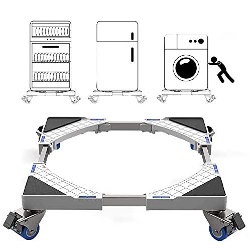 Base mobile regolabile multifunzionale con 4 ruote piroettanti in gomma bloccabili Carrello resistente mobile da 300 kg per carrello mobile per lavatrice, medico e frigorifero