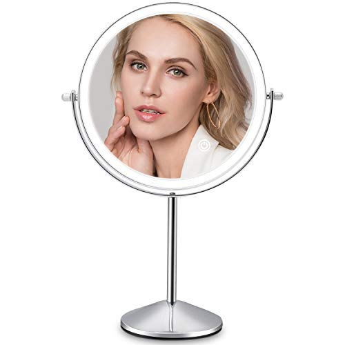 Rechargeable Lighted Makeup Vanity Mirror, 8 Inch Double Sided Light Up Mirror with 3 Colors Lighting 10X Magnification, Touch Sensor Dimming 360 Degree Swivel,Tabletop Round Cosmetic Cordless Mirror