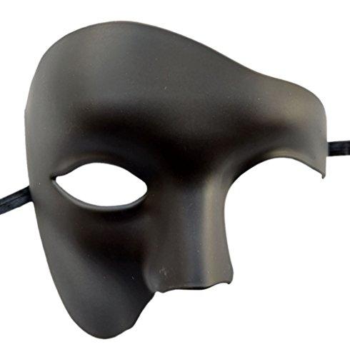 Máscara de disfraces Vintage Phantom Of The Opera Disfraz de medio rostro con ojos (Negro mate)