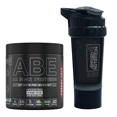 Applied Nutrition Bundle ABE Pre Workout 315g + ABE Protein Smart Shaker | All Black Everything Pre Workout Energy, Increase Physical Performance with Caffeine, 315g, 30 Servings (Cherry Cola)