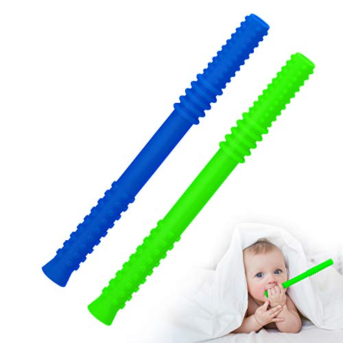 2 Pack Hollow Teething Tubes, MOMSIV Baby Teething Toys for Newborn Infants, Soft Silicone Teething Tubes, Soothe Babies Gums, Freezer Safe