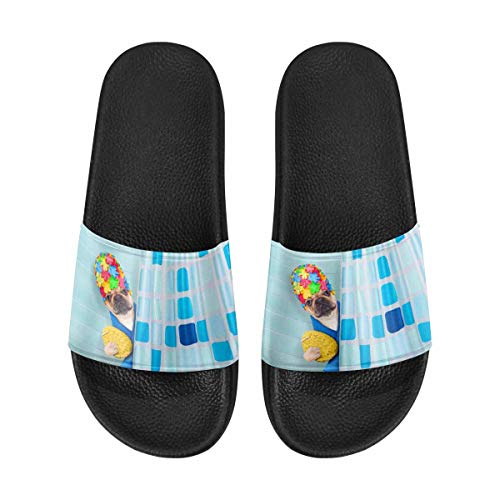 INTERESTPRINT French Bulldog Dog in a Bathtub Men's Lightweight Breathable Casual Slippers Shoes US11