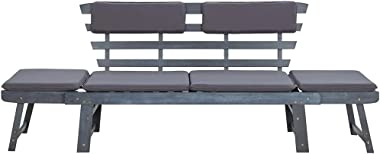 vidaXL Solid Wood Garden Bench Day Sofa Bed w/Cushions Outdoor Patio Garden