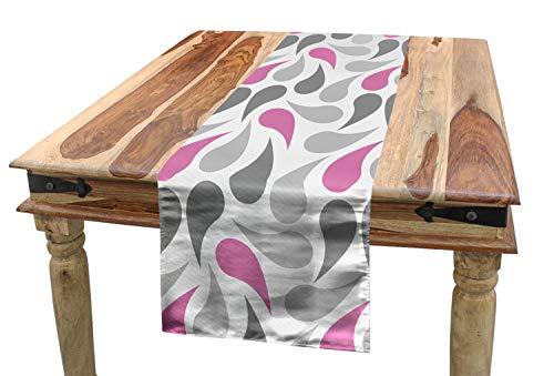 ABAKUHAUS meetkundig Tafelloper, Perzische Teardrop, Eetkamer Keuken Rechthoekige Loper, 40 x 180 cm, Roze Grijs Wit