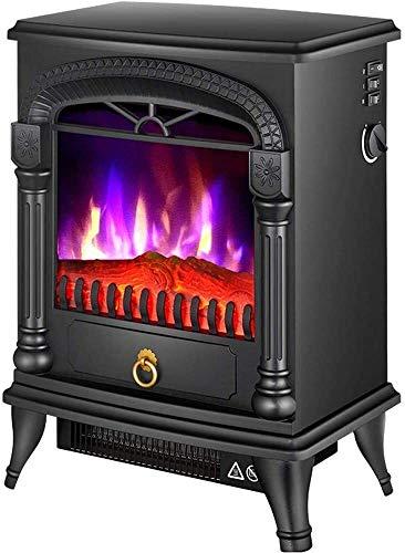 BBJOZ Hornos chimeneas Estufa Chimenea eléctrica Calentador con Llama Efecto con Estufa de luz LED con Control Ajustable Termostato 1000 / 2000W (Color : Negro)