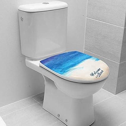 impermeabile motivo floreale motivo marino decorazione per il bagno MSZQ Adesivo per copriwater con motivo floreale