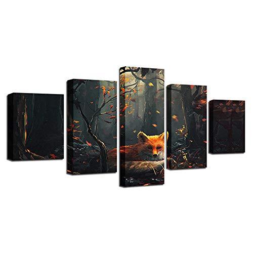 EUKMUIJ Quadro su Tela Stampato HD Personalizzato 5 Pezzi Wall Art, Forest Animal Fox, Foglie Cadute...