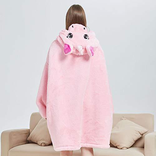 Oversized Hoodie Blanket, Wearable Sherpa Blanket Winter Warm Cosy TV Blanket with Cute Animal Hood Sweatshirt for Girls Women Adult Teens