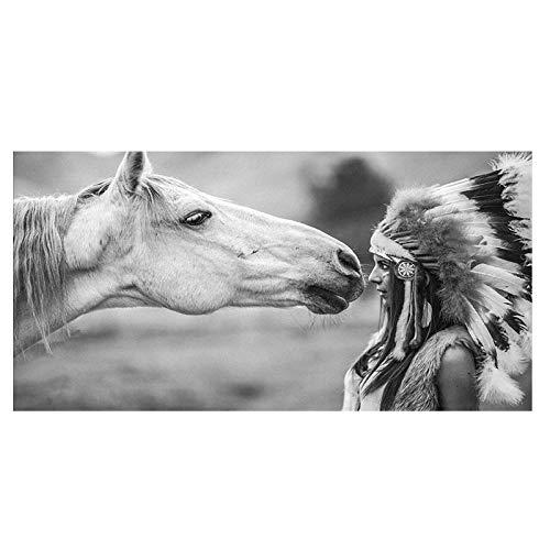 SERTHNY Impresión De La Lona,Blanco Y Negro con Indio Nativo Caballo Lienzo Retrato Arte Escandinavo Imagen De Pared De Impresión De Póster para El Salón-70×140Cm.