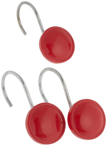 Carnation Home Fashions Color Rounds Ceramic Resin Shower Curtain Hook, Red