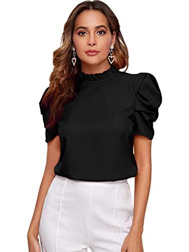 DIDK Damen Bluse Rüschen Elegant Stehkragen Blusen T-Shirt Shirt Sommershirts mit Knöpfe Puffärmeln Oberteile Taille Tops Schwarz L