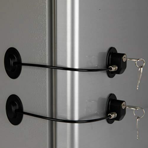 2 Pack Refrigerator Door Locks with 4 Keys, File Drawer Lock, Freezer Door Lock and Child Safety Cabinet Locks by REZIPO BLACK