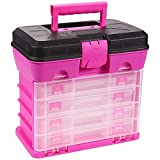 Juvale Pink Tackle Box for Women, 4 Drawer, 13 Compartment Tool Storage Organizer for Crafts, Dolls, Nail Kits, Sewing (10 x 10 Inches)