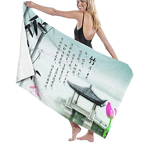 Toallas de baño Kin de Nicola Zen Design Bamboo Blanco y Negro Toalla de Fibra extrafina 100% Secado rápido Altamente Absorbente para Uso Diario Baño SPA 32 'x52'