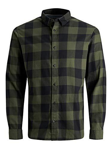 JACK & JONES Herren JJEGINGHAM Twill Shirt L/S NOOS Hemd, Dusty Olive, L