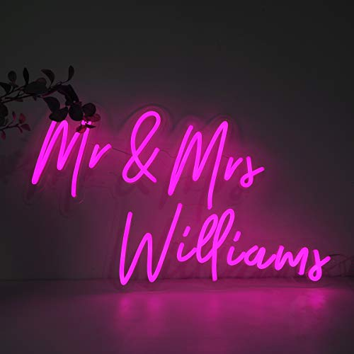 """LC Custom Neon Signs Personalized Led Neon Light Dimmable Wall Sign Handmade Led Words Sign for Wall Art, Bedroom, Wedding Party, Holiday Decoration, Birthday Gift Giving (18.5""""x11.8"""" Cut Along Shape)"""