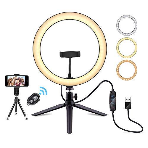 Luz LED de anillo de 10,2 pulgadas, luz selfie con trípode y soporte para teléfono móvil, 3 modos de luz y 10 brillo, 120 bombillas de luz regulable, adecuado para Youtube vídeo/maquillaje/fotografía