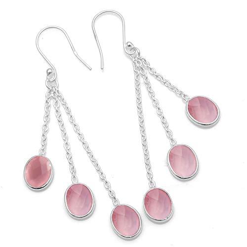 Silver Palace Pendientes colgantes de plata de ley 925 con piedras preciosas naturales para mujer. marfil