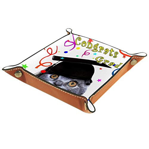 YATELI Caja de Almacenamiento pequeña, Bandeja de Valet para Hombre,Gato Inteligente en la Tapa graduada,Organizador de Cuero para Llaves de Caja de Monedas