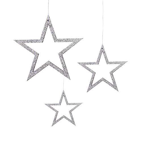Oblique Unique® 3 Holz Sterne mit Glitzereffekt und Schnur für Weihnachten Weihnachtsbaum Christbaum Anhänger Christbaumschmuck Weihnachtsdeko Holz Deko - Farbe wählbar (Silber)