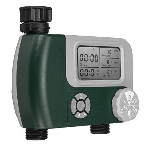 Jtoony Temporizador de agua automático de agua temporizador sistema de riego controlador de doble manguera conector de jardín grifo ordenador