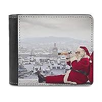 サンタクロース クリスマス 財布 メンズ 二つ折り財布 大容量 ウォレット 小銭入れ付 ウォレットカード収納 PU本革 メンズ レディース シンプル 取り出しやすい 高級感 アンティーク調 プレゼントblack-サンタクロース クリスマス1One size