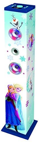 Disney Frozen -  Torre de Sonido con Altavoces Luminosos con Bluetooth,  micrófono,  Mando a Distancia,  Ideal para Karaoke (Lexibook K8050FZ)