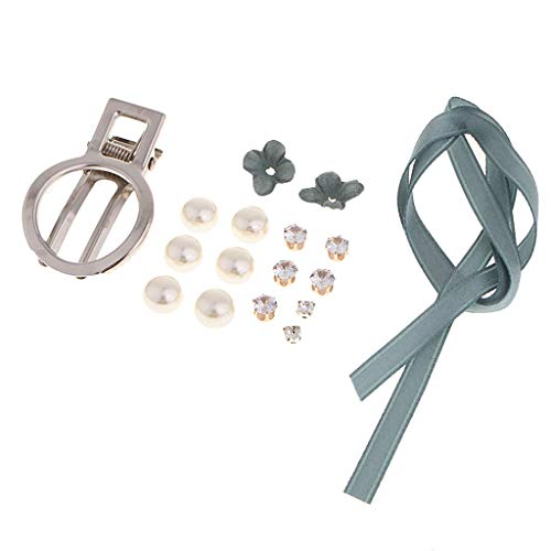 dailymall 17x Pince Vierge + Perles + Ruban + Perle Strass pour Pince à Cheveux