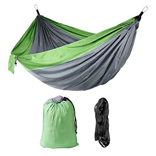 Dubbele hangmat, 200 kg laadvermogen Hangmat voor dubbele ademende hangmat met boomband voor tuin, park, terras, reizen, kamperen(Grijs + lichtgroen)
