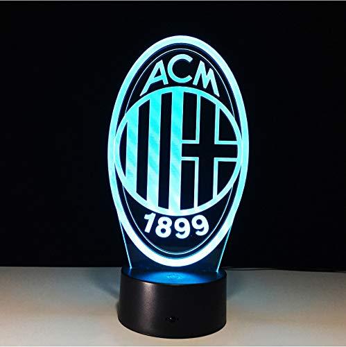 7 Farben ändern innovative Fußball Club 3D Led Nachtlicht für Italien Ac Mailand Club Led Touch Lampe Neuheit Geschenke Usb Lampe