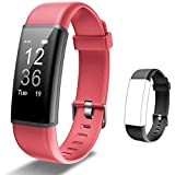 Lintelek Fitness Tracker HR, Activity Tracker with Step Counter, Heart Rate Monitor, Smart Watch with Sleep Monitor, Extra Replacement Band for Men Women Kids (Red+Black)