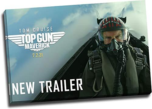 Trelemek Top Gun Maverick - Póster de pared con marco de madera, 2 unidades, 76,2 x 50,8 cm, diseño de película de vídeo enmarcado de madera, listo para colgar