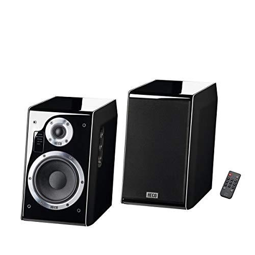 HECO Ascada 2.0, schwarz – 1 Paar kraftvoller, wertiger Aktiv-Lautsprecher mit vielen Anschlussmöglichkeiten und edlem Klavierlack-Gehäuse