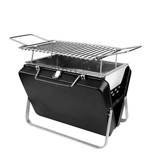 XIJING Mini Parrilla de Barbacoa de carbón/Estufa de Parrillas de Barbacoa Plegable/Parrillas de Cocina para Acampar al Aire Libre para Kabob Kabab, se encienden rápidamente 38x27cm