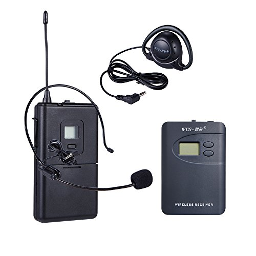 ZLWUS 800R Wireless Tour Guide System, UHF794~806MHz Digital AudioGuias y AudioGuías (1pc Transmisor + 6pc Auricular) para Enseñanza Visiting and Conferencia(Gris)