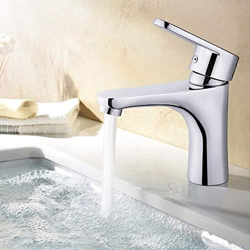 Amzdeal Grifo de lavabo, Grifo para baño con cartucho de cerámica y Neoperl aireador, Grifo monomando para lavabo, Agua Fría y Caliente disponible, Latón, Cromado