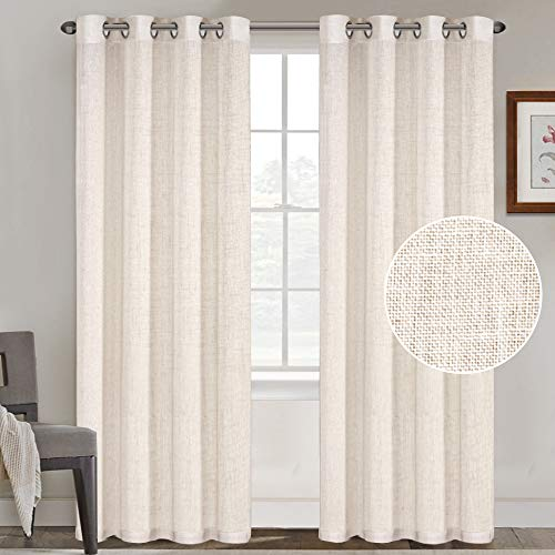 FantasDecor Natural Linen Blended Curtains Linen Curtains for Living Room Grommet Curtain Panels Privacy Added Light Filtering Window Treatments Draperies for Bedroom (2 Panels, 52x84-Inch, Natural)