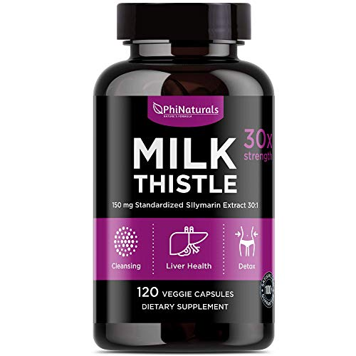 Milk Thistle 150 mg Capsules – [120 Count] Liver Cleanse Support Detox Vitamin – Extra Strength Silymarin Extract – Silybum Marianum – All Natural Immune Boost Detox Supplement – Non-GMO Made in USA