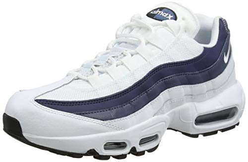 Nike Men's Air Max 95 Essential Running Shoes, Multicolour (White/Midnight Navy/Monsoon Blue 114), 6 UK (40 EU)