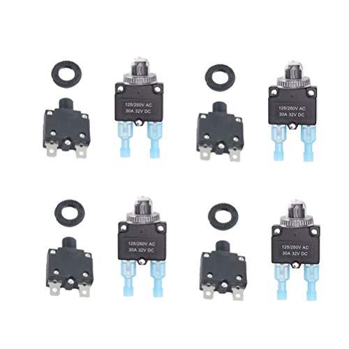iplusmile Leistungsschalter - Langlebig Praktisch 30A Nützliche Tragbare Überlastschalter Überlastschutz Leistungsschalter für Wohnmobil (Leistungsschalter + Kappe + Blaue Klemme)