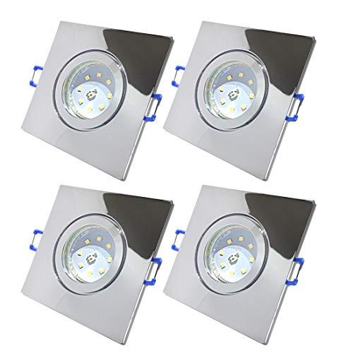LED Bad Einbaustrahler 230V inkl. 4 x 7W SMD Modul Farbe Chrom IP44 LED Einbauleuchten Neptun Eckig 4000K Deckenspots